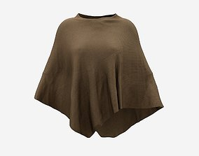 3D women Brown Knit Cape
