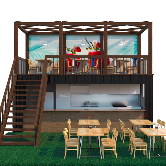 Converting a container into a cafe