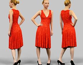 Girl in Red Dress 3D model