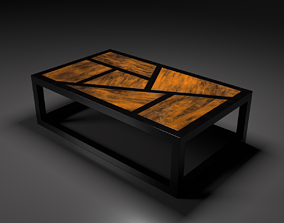 wooden Coffee table 3D model realtime