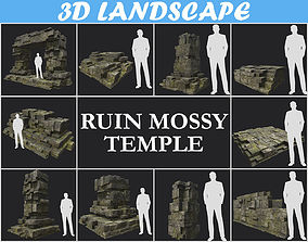 Low poly Mossy Ruin Temple Block Pack 181116 3D model