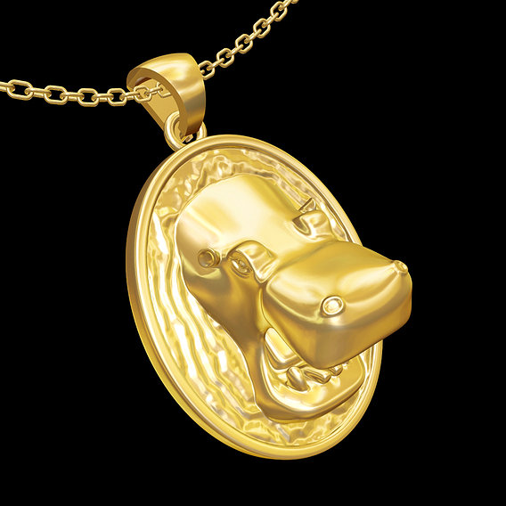 Hippo in water pendant jewelry gold necklace medallion 3D print model
