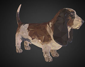 Dog Basset Hound Low Polygon Art Farm Animal realtime