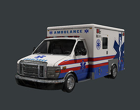 3D model Vehicle Ambulance Rescue Truck Game Ready 06