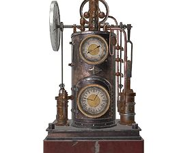 Vintage steampunk clock 3D model