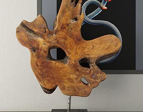 Teak Wood Table Top Decoration 3D