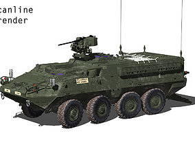 US Army M1126 Stryker ICV with detailed interior MAX 3D
