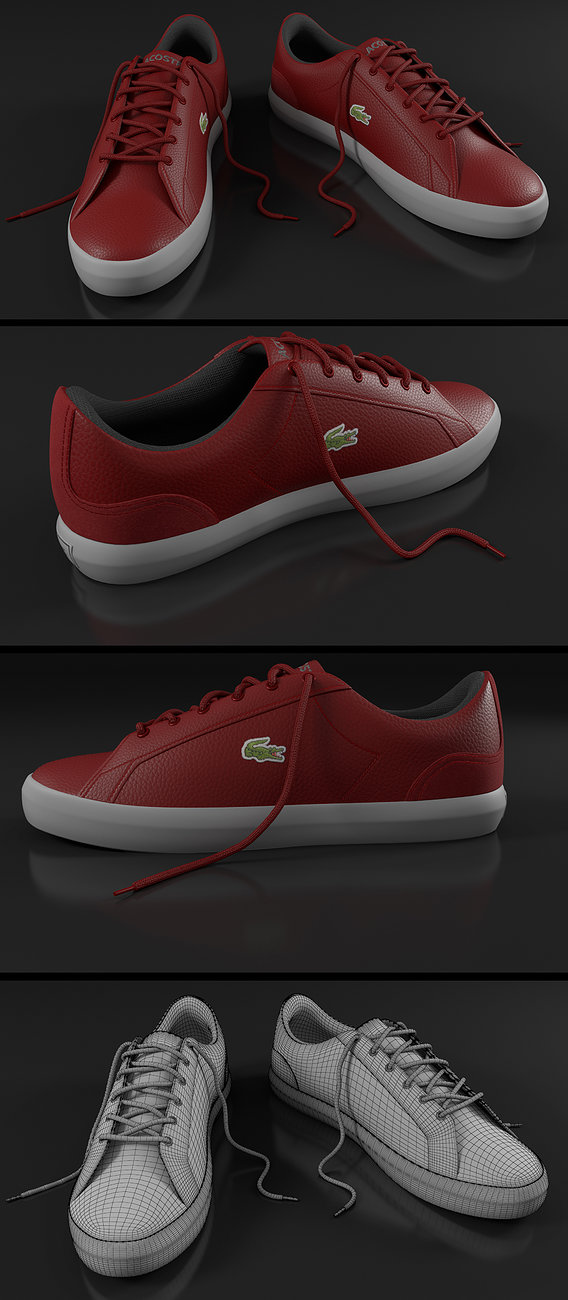 Lacoste Red Shoes Render