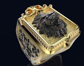 3D printable model Golden Lion Signet Ring R 214