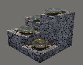garden 3D Cascading four bowl water feature