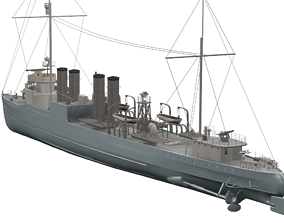 low-poly Campbeltown Town-Class Destroyer 3D Model