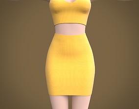 fashion 3D model pencil mini skirt and crop singlet top