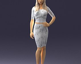 Slender blonde girl in top and skirt 2021 3D Print Ready