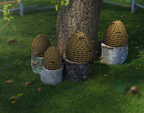 Traditional honey bee skep hive 3D model