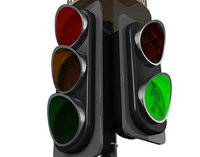 Traffic Light Cartoon and Normal Use 3D model animated