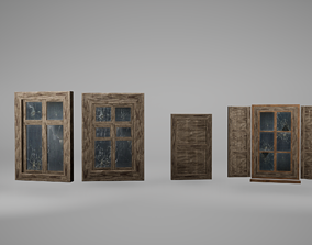 Window Set Low Poly Game Ready 3D model