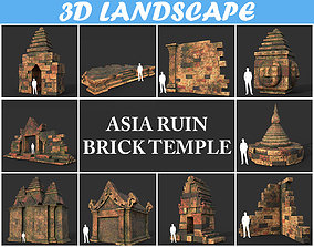3D model Low poly Mossy Brick Ruin Asia Temple Package