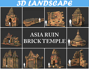 Low poly Mossy Brick Ruin Asia Temple Package 190821 3D
