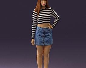 Woman in striped blouse 0405 3D Print Ready
