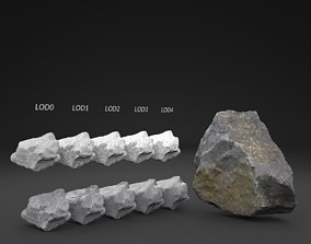 3D model Scanned Old Rock LOW POLY LODs