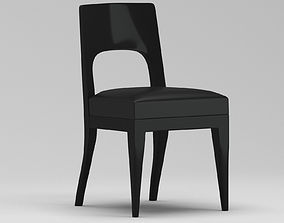 3D model Black Leather Side Chair