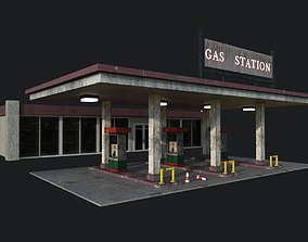 3D asset game-ready Gas Station