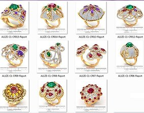 3D model Cocktail rings collection 16 rings