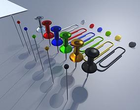 Pin Needles Pins Paperclips and Thumbtacks Package 3D