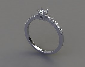 3D printable model Thin Solitaire Dainty Engagement Ring 2