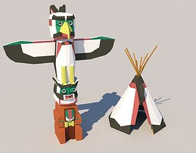 3D model realtime Indian Tent low poly