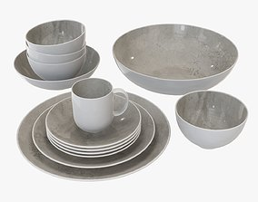 Dinnerware set 02 bowl mug platter dinner salad plate 3D