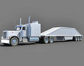 White Bottom Dump Truck 3D model