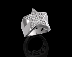 3D printable model Star ring with diamonds