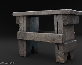 Scanned Small Bench Game Ready PBR 3D model