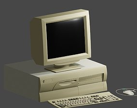 3D asset Old 90s desktop computer full set