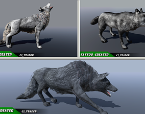 PBR Low-Poly Wild Animal Wolf Collection Pack Rigged 3D