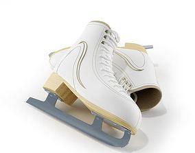 3D model Laced White Ice Skates