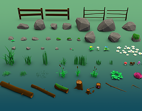3D model Forest plants stones grass flowers and mushrooms