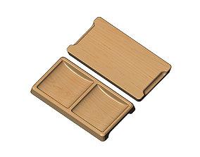 Rectangular 2 pockets serving tray relief 3D print model