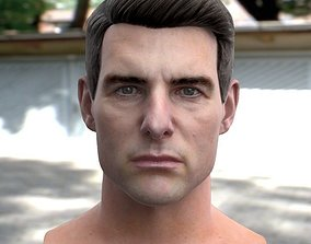 low-poly 3d model Tom Cruise head