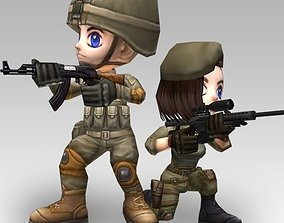 3D asset Animated Chibi Cartoon Soldiers