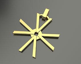 3D print model Pinwheel Letter V Necklace