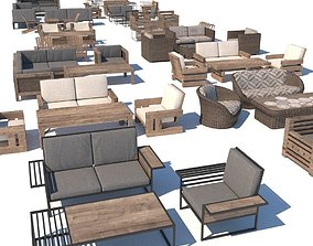 outdoor furniture collection model low-poly