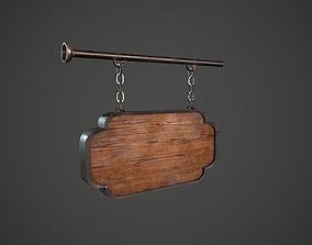 Wooden Sign 2 3D asset
