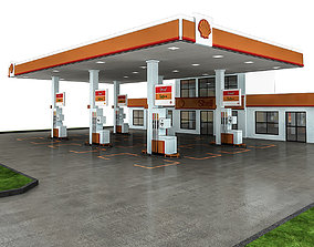 game-ready 3D Gas Station