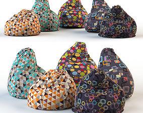 Armchair bag pouf pillow armchair 3D model
