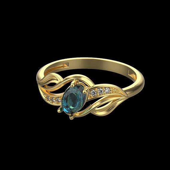 Women's gemstone ring design 3D print model