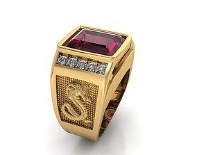 Ruby gem with snake men ring Jewelry Design 3D print model