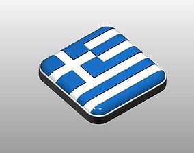 3d Button shape Greece Flag 3D printable model