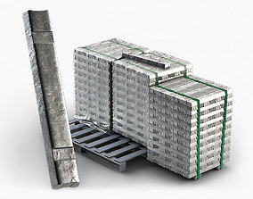 Aluminium Zinc Nickel Silver Titan Steel ingot 1 3D model